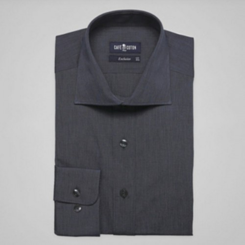 Chemise Fil à fil, coupe slim, à rayures col italien, anthracite
